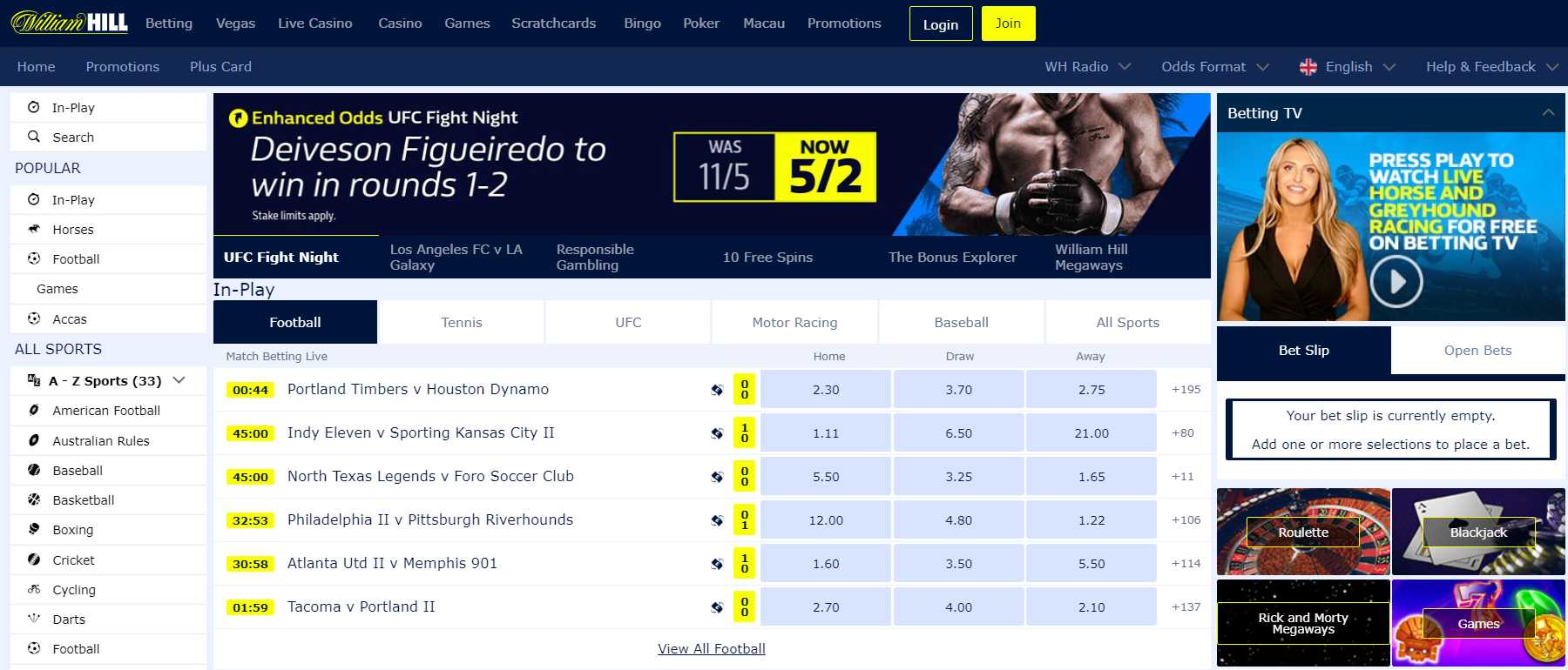 William Hill betting offers for in-play bets to consider now